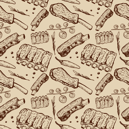Seamless pattern with beef ribs. Butchery. Design element for poster, wrapping paper. Vector illustration Ilustração