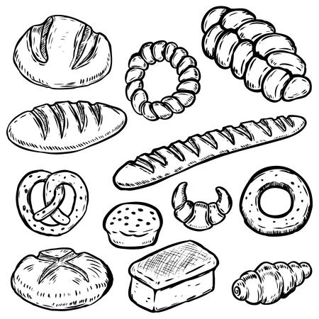 パンの手描きイラストのセットです。食パン、菓子パン、ベーグル、クロワッサン。ポスター、包装紙のデザイン要素です。ベクトル図