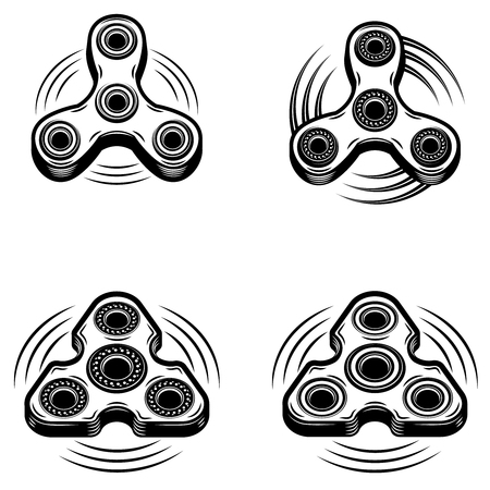 Set of the hand spinner icons isolated on white background. Design elements for logo, emblem, sign, badge. Vector illustration Ilustrace