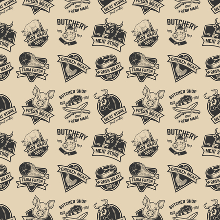 Set van vlees winkel, vers vlees labels naadloze patroon. Ontwerpelement voor poster, inpakpapier. Vector illustratie Stock Illustratie
