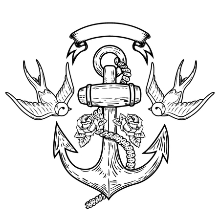 Anchor with swallows and roses. Tattoo design. Vector illustration Ilustrace