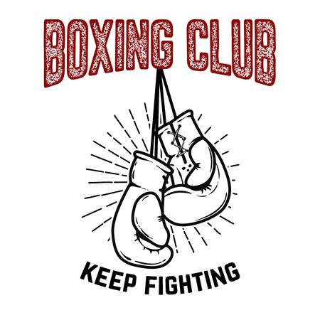 권투 클럽, 싸우는 계속. 흰색 배경에 권투 장갑입니다. 포스터, 레이블, 엠 블 럼, 기호 디자인 요소입니다. 벡터 일러스트 레이 션