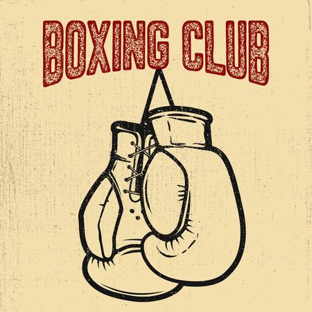 Boxing club. Boxing gloves on white background. Design element for poster,label, emblem, sign. Vector illustration Illustration