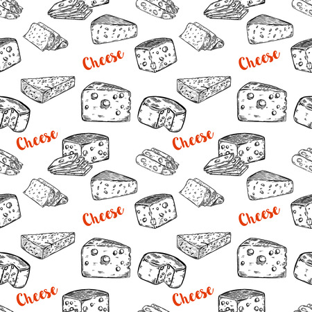 Seamless pattern with cheese illustrations. Design element for poster, wrapping paper. Vector illustration 版權商用圖片 - 80906987