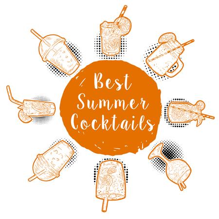 Hand drawn Cocktail menu. Best summer cocktails. Design elements for poster, menu. Vector illustration