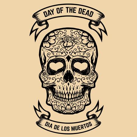 Day of the Dead. Dia de los Muertos. Sugar skull with floral pattern. Design element for poster, greeting card. Vector illustration Illustration
