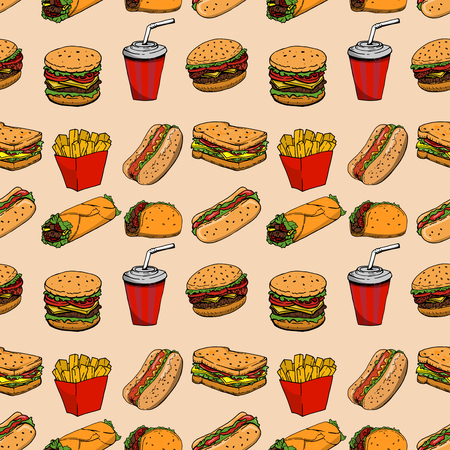 Seamless pattern with fast food. Hamburger, hot dog, burrito, sandwich. Design element for poster, wrapping paper. Vector illustration