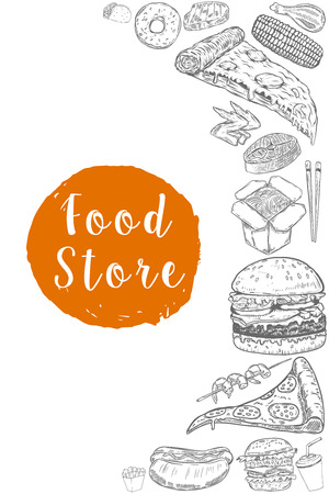 Food store banner template. Hand drawn food illustrations. Burger, pizza, hot dog, grilled corn. Vector illustrations Illustration
