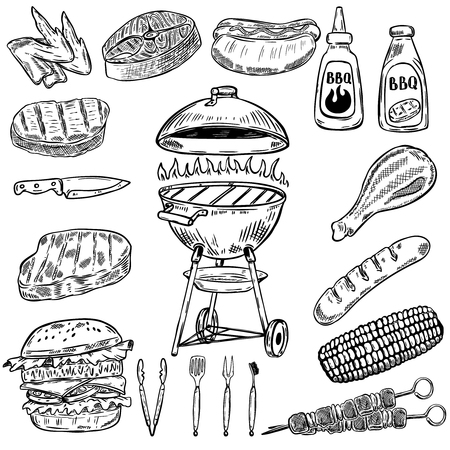 Set of hand drawn grill and bbq design elements. Elements for poster, restaurant menu. Vector illustration