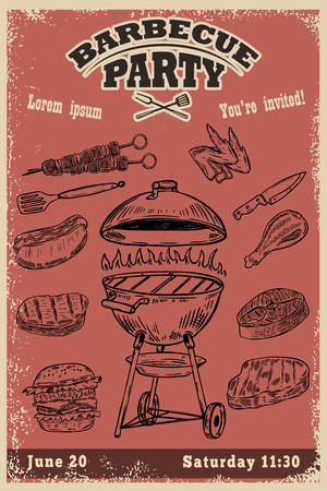 Barbecue party invitation template. Hand drawn BBQ and Grill design elements.Vector illustration Illustration