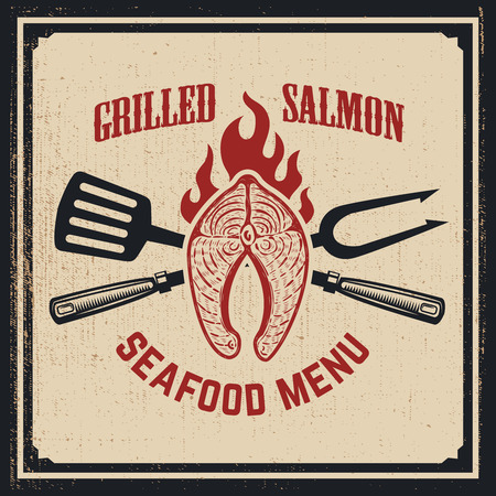 Seafood menu. Grilled salmon with crossed fork and kitchen spatula on grunge background. Vector illustration
