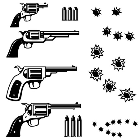 Handguns illustration isolated on white background. Bullet holes. Vector illustrations