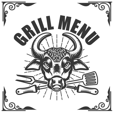cookout: Grill menu. Bull head on white background. Vector illustration Illustration
