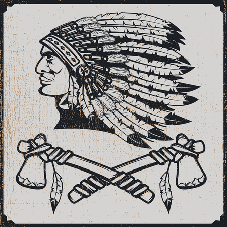 Native american chief head in traditional headdress with tomahawks. Vector design element