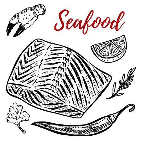 Seafood. Salmon meat, lemon, spices. Design elements for menu, poster. Vector illustration