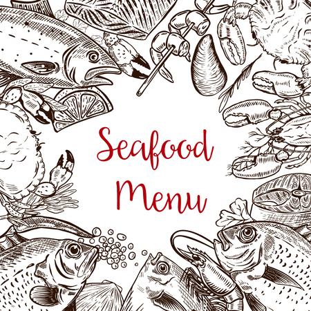 Seafood fresh menu template. Fish, crab, shrimp, lobster, spices. Vector illustration Illustration