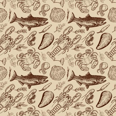 海鮮手の描かれたシームレス パターン。ポスター、包装紙のデザイン要素です。ベクトル図