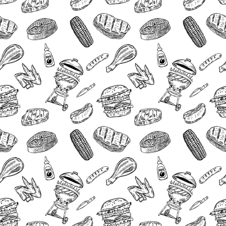 Seamless pattern bbq and grill. Design element for poster, wrapping paper. Vector illustration