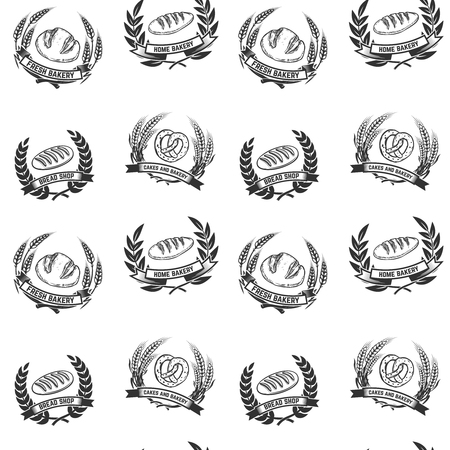 Seamless pattern with bakery emblems. Design element for poster, wrapping paper. Vector illustration Stock Vector - 80907012