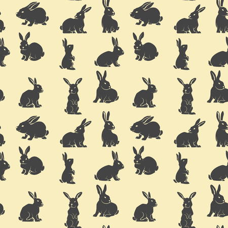 Seamless pattern with rabbits. Vector design element
