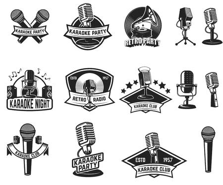 Set of karaoke party labels. Vintage microphone, gramophone. Design elements for label, emblem, sign. Vector illustration