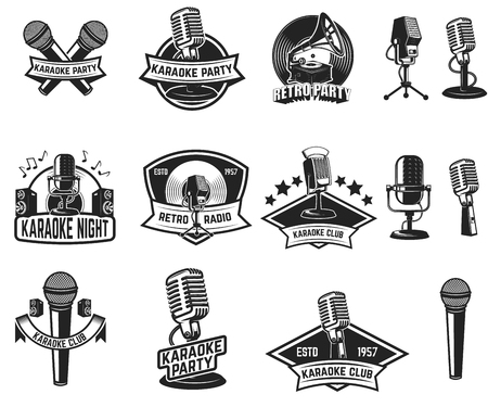 Set of karaoke party labels. Vintage microphone, gramophone. Design elements for label, emblem, sign. Vector illustration