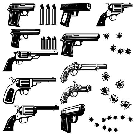 Pistolenillustratie op witte achtergrond wordt geïsoleerd die. Kogelgaten. Vector illustraties
