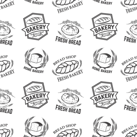 Seamless pattern with bakery emblems. Design element for poster, wrapping paper. Vector illustration Illustration