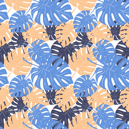 Seamless pattern with palm leaves. Vector illustration