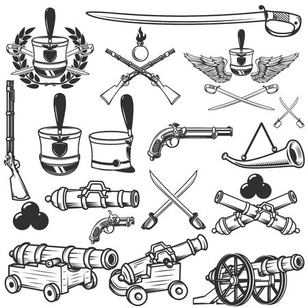 musket: Old weapons, muskets, sabers, cannons, cores, hussar headgear. Design elements for logo, label, emblem, sign. Vector illustration
