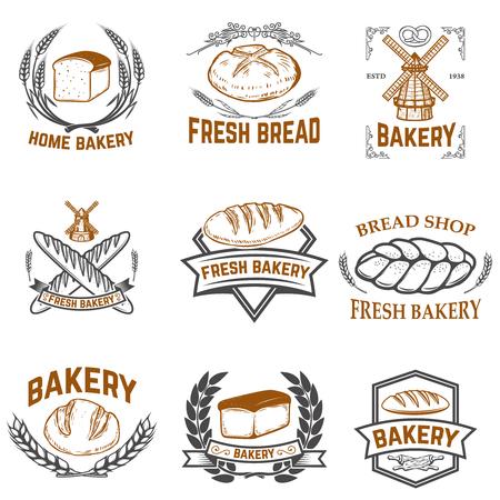 Ensemble d'étiquettes de boulangerie. Magasin de pain, pain frais. Éléments de conception pour l'étiquette, l'emblème, le signe. Illustration vectorielle