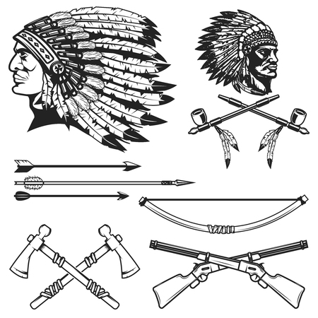 Set of native american indians chiefs heads. Stock Illustratie
