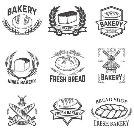 Ensemble d'étiquettes de boulangerie. Magasin de pain, pain frais. Éléments de conception pour l'étiquette, l'emblème, le signe. Illustration vectorielle Vecteurs
