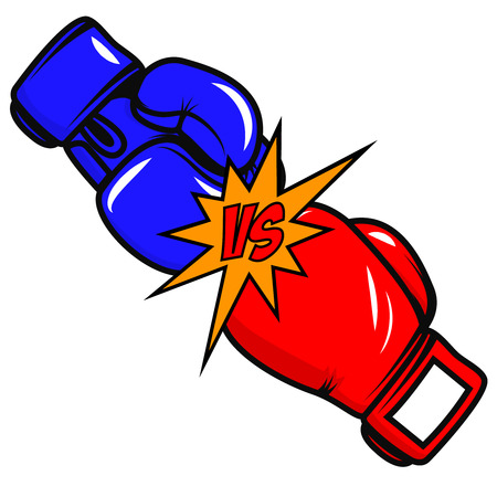 Versus boxing gloves on white background. Vector design element