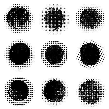 Abstract halftone round dotted shapes. Vector design element