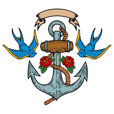 Anker met zwaluwen en rozen. Tattoo ontwerp. Vector illustratie