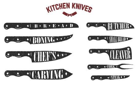 Set di coltelli da cucina. Coltelli da macellaio su sfondo bianco. Illustrazione vettoriale Archivio Fotografico - 81273765