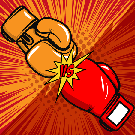 Versus boxing gloves on pop art style background. Vector design element Stock Illustratie