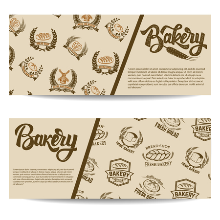 Set of bakery banner templates isolated on white background. Vector illustration