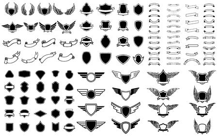 Set of empty emblems, ribbons, winged emblems. Design elements for logo, badge, sign. Vector illustration Ilustração