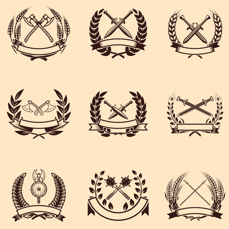 Set of emblems with wreaths and swords. Design elements for logo, label, sign. Vector illustration Ilustrace