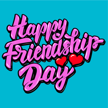 幸せな友情日。ハートの形でレタリング フレーズ。ベクトル図  イラスト・ベクター素材