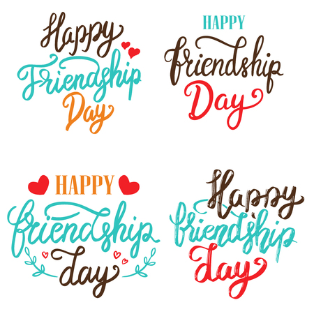 Happy Friendship Day. Set of hand drawn lettering phrases on white background. Design element for poster, greeting card. Vector illustration Çizim