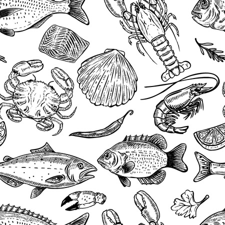 Seafood hand drawn seamless pattern. Design element for poster, wrapping paper. Vector illustration Vectores