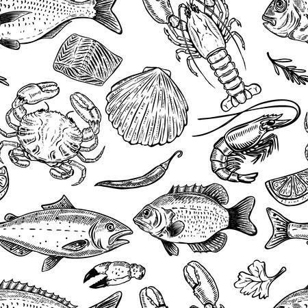 Seafood pattern disegnato a mano senza soluzione di continuità. Elemento di progettazione per poster, carta da imballaggio. Illustrazione vettoriale