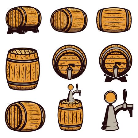Reeks hand getrokken houten vaten die op witte achtergrond wordt geïsoleerd. Ontwerpelementen voor logo, label, embleem, teken. Vector illustratie