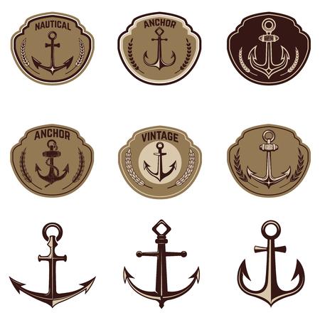 Set of the emblems with anchor. Design elements for poster, t-shirt,  emblem, sign. Vector illustration