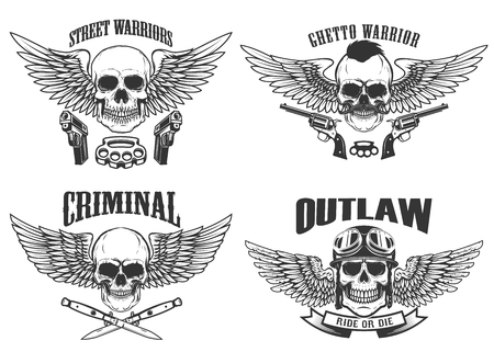 Outlaw, street warriors. Set of winged skulls with weapon. Design elements for emblem, sign, label, t-shirt. Vector illustration Illustration