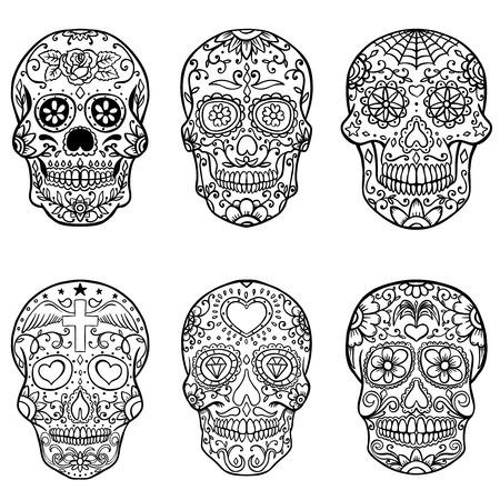 Set di teschi di zucchero disegnati a mano. Giorno della morte. Dia de los Muertos. Illustrazione vettoriale Archivio Fotografico - 81715638