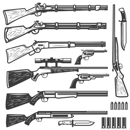白い背景に分離されたビンテージ スタイルの武器のセット。ロゴ、ラベル、紋章、記号の要素をデザインします。ベクトル図